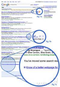 Googlov vmesnik, kjer je mogoče glasovati o straneh