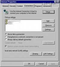 [Nastavitve za ICS se skrivajo v: Start > Settings > Control Panels > Internet Control (Start > Nastavitve > Nadzorna plošča > Internetne možnosti), kjer inštalacija ICSja doda nov gumb - Sharing.