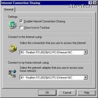 """Kliknite """"Sharing"""" in odprlo se bo novo okno z nastavitvami ICSja. Izberite napravo s katero dostopate na internet, nato izberite še povezavo do ostalih račrunalnikov v mreži, kliknite OK (V redu)"""