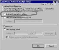 """Kliknite LAN Settings (Nastavitve za LAN) in se prepričajte, da ni odkljukana možnost """"Automaticaly detect settings"""" (Samodejno zaznaj nastavitve); omogočite spodnjo možnost - """"Use automatic configuration script"""" (Uporabi skript za samodejno konfiguracijo) in vpišite usmerjevalnikov IP - 192.168.0.1."""