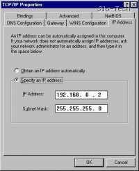 Nato nastavite uporabnikov IP; vsak odjemalec mora imeti svoj IP naslov (izbirate lahko v območju od 192.168.0.2 do 192.168.0.255), subnet mask (Maska podomrežja) pa je pri vseh enak - 255.255.255.0. Če imate v mreži več računalnikov, spreminjate samo IPje (vsak odjemalec mora imeti svoj IP!), ostale nastavitve pa so enake pri vseh.