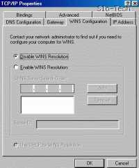 Kliknite zavihek WINS configuration (Konfiguracija WINS) in označite Disable (Onemogoči)