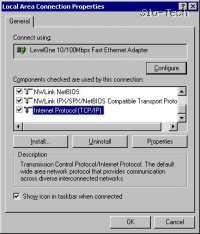 Med naštetimi protokoli označite TCP/IP, kliknemo Properties