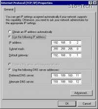 Vpišite uporabnikov IP (izbiramo IPje od 192.168.0.2 do 192.168.0.255), subnet mask je pri vseh enak 255.255.255.0, določite gateway - sem vpišete usmerjevalnikov IP. V okenca DNS pavpišite IP naslova DNS serverjev vašega internetnega ponudnika.
