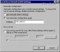 """Obkljukate """"Use automatic configuration script"""" in vpišite IP usmerjevalnika - 192.168.0.1"""