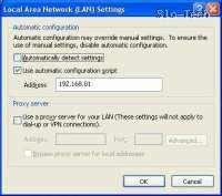 """Obkljukajte """"Use automatic configuration script"""" (Uporabi skript za samodejno konfiguracijo) in vpišete IP usmerjevalnika - 192.168.0.1"""