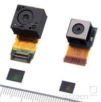 12,25 in 8,11 Mpixel senzorja in pripadajoči leči, merilo v milimetrih.