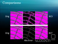 BC7 občutno zmanjša kockastost dosedanjih formatov (BC3 = DXTC3)