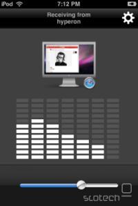 Airfoil Speakers Touch s težavnimi grafikami, ki prikazuje povezavo z Macom in Safarijem