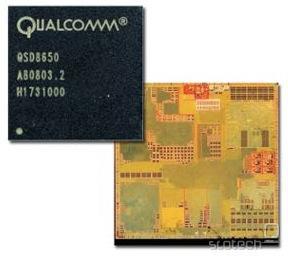Obilica zmogljivosti v majhnem paketu. Na sliki je QSD8650, gigahertčni Snapdragon, poznan iz HTC Desire, Evo 4G, HD2, Google Nexus One, itd.