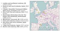 Izmed prvih desetih je v Evropi sedem konurbacij.