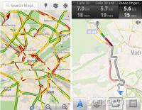 Levo: prikaz gostote prometa na zemljevidu; desno: preusmerjanje uporabnika Maps Navigation mimo gostega prometa po stranski cesti