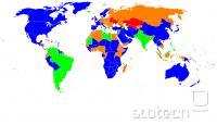 Najbolj uporabljan brskalnik po državah (december 2011). Modra: IE, oranžna: Firefox; zelena: Chrome; rdeča: Opera.