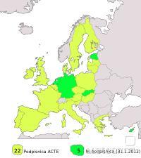 ACTE še niso podpisale Nemčija, Nizozemska, Slovaška, Estonija in Ciper.