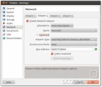 Nastavitve virtualnih omrežnih vmesnikov v Virtualboxu.