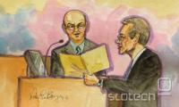 Izsek iz sojenja: Andy Rubin, Googlov šef za Android, med zaslišanjem s strani Oraclovega odvetnika.