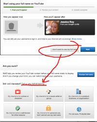 Povezovanje YouTube profila z Google+ profilom, pri katerem je uporaba pravega imena obvezna.