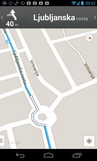 googlova ruta skozi krožišče