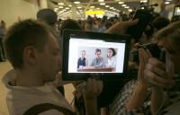 Medijska gneča na letališču Šeremetjevo.