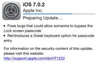 Povzetek popravkov v iOS 7.0.2 med namestitvijo