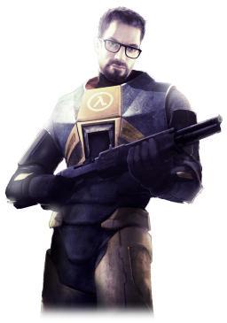 Gordon Freeman s svojim zaščitnim znakom, pravokotnimi očali z debelim, črnim okvirjem