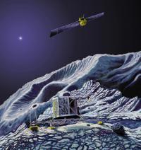 Umetniška upodobitev Rosette in Philae na kometu
