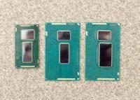 Broadwell-Y na levi, običajni prenosniški Broadwell na sredini, na desni pa njegov ekvivalentni Haswell