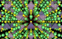Struktura superionskega prevodnika. Litijevi atomi so zeleni, žvepovi rumeni, PS4 vijolični in GeS4 modri.
