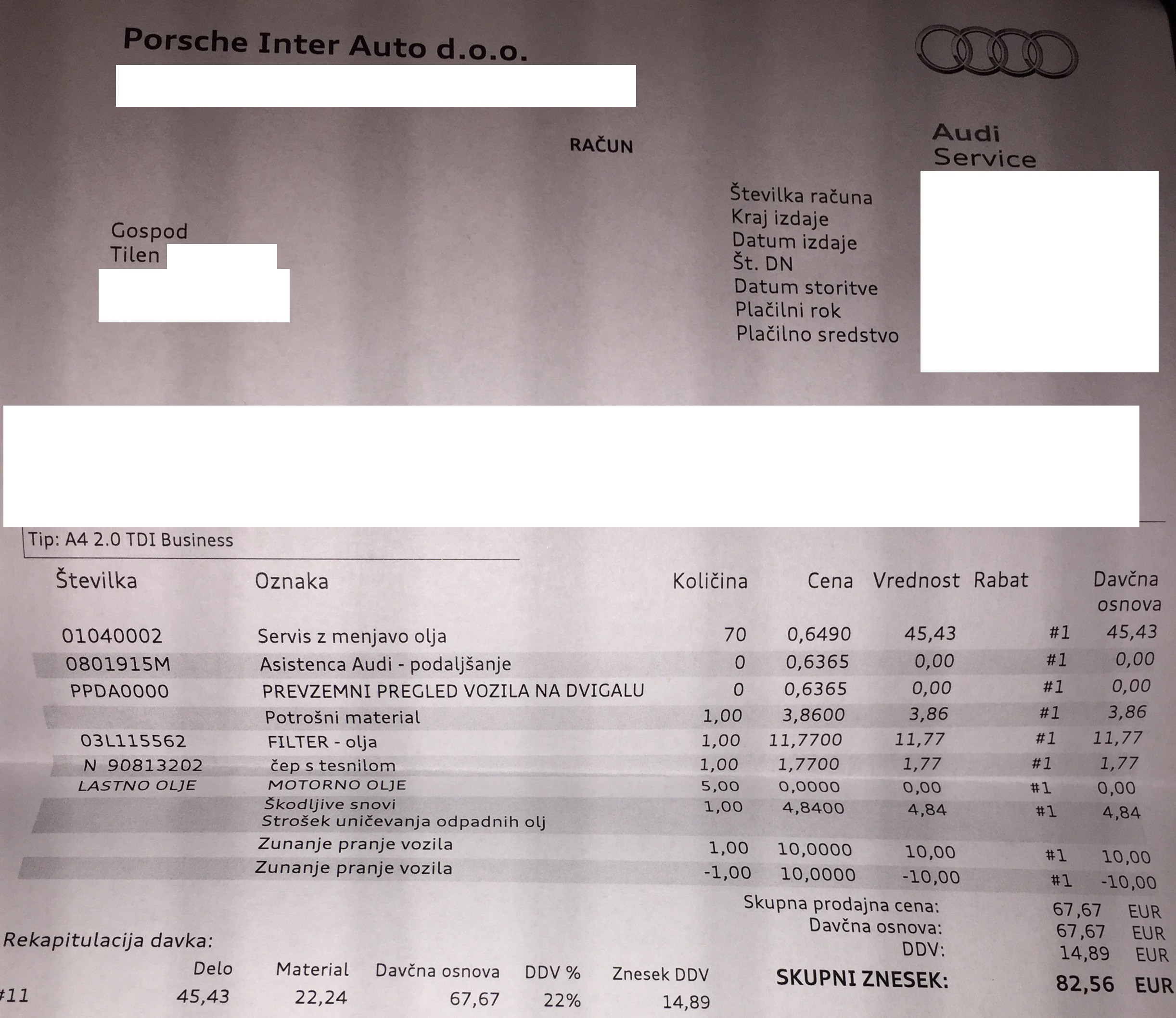 Račun - redni servis 82 EUR