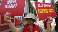 Pred sodiščem so potekali protesti v podporo Samsungovemu direktorju