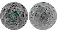 Porazdeljenost ledu na Luninem južnem (levo) in severnem (desno) polu.