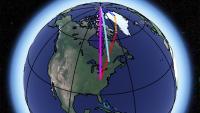 Prispevki postledeniškega odboja (rumeno), premikanja v plašču (rdeče) in izgube ledu na Grenlandiji (modro). Vsota je rožnata. Slika: NASA/ JPL-Caltech