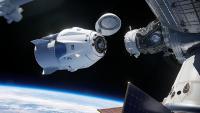 NASINA ilustracija približevanja Crew Dragona Mendardni vesoljski postaji