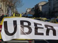 Protest proti prihodu Uberja v Budimpešto leta 2016